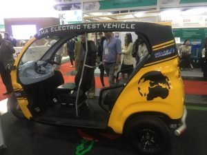 An electric tuk tuk seen here last month during the annual Techsauce Summit in Bangkok.