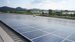 A solar panel installed on a commercial building in Nakhon Ratchasima province. New rules will open the door for detached houses, warehouses, factories and offices to sell their leftover solar power.