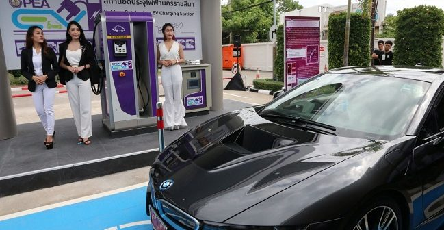 PEA opens electric-vehicle charging station in Nakhon Ratchasima
