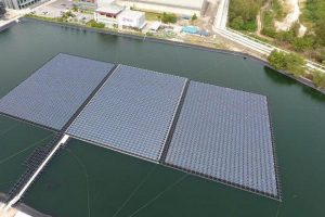 A floating solar farm is shown at a pond at SCG Chemicals plant in Rayong's Map Ta Phut Industrial Estate. (Photo courtesy SCG Chemicals)