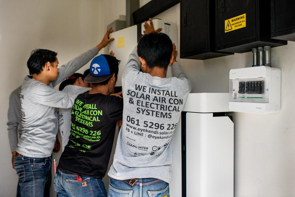 Installing a hybrid solar inverter in Chiang Mai, Thailand