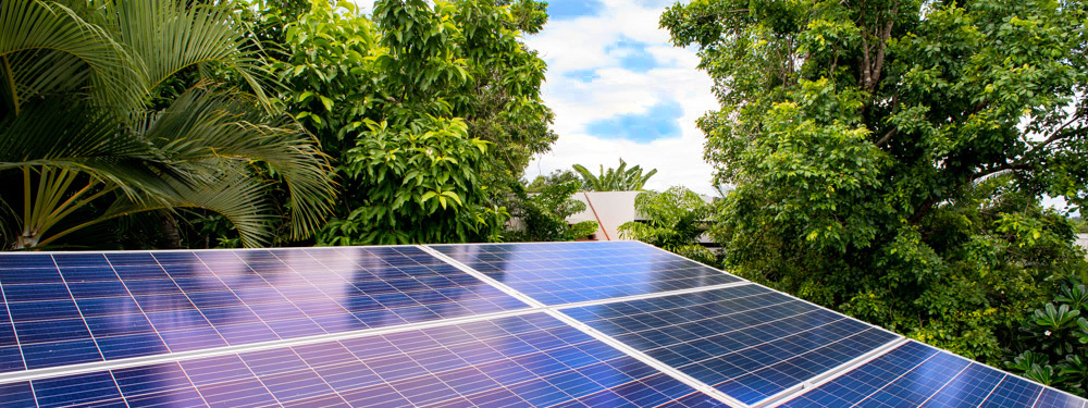 solar panels reflecting the sky in Chiang Mai, Thailnad