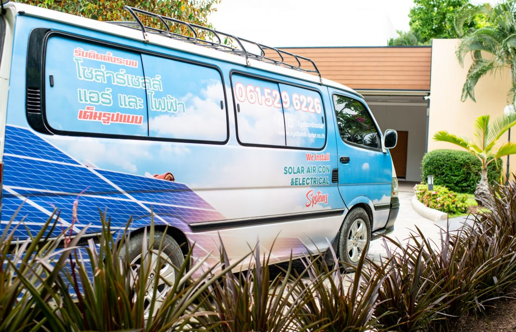 Eyekandi solar air conditioning systems installation van