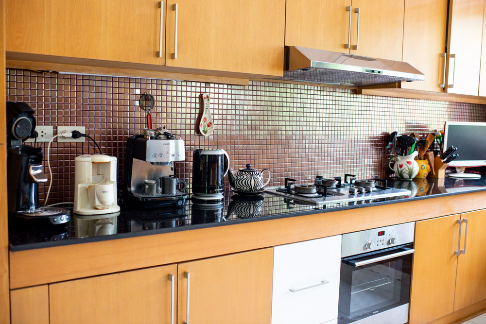 kitchen bench with electrical appliances